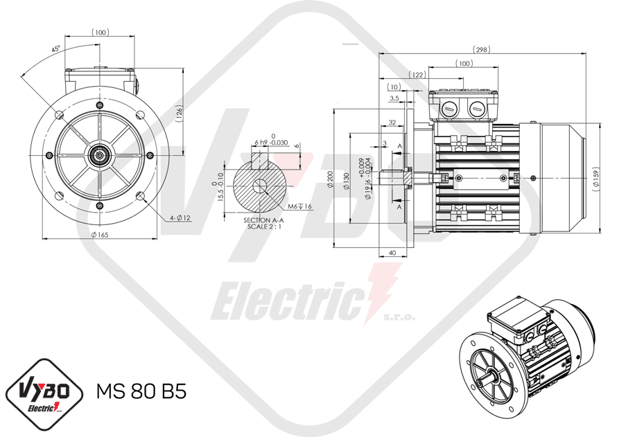 rozmerový výkres elektromotor 0,75kw MS80-4