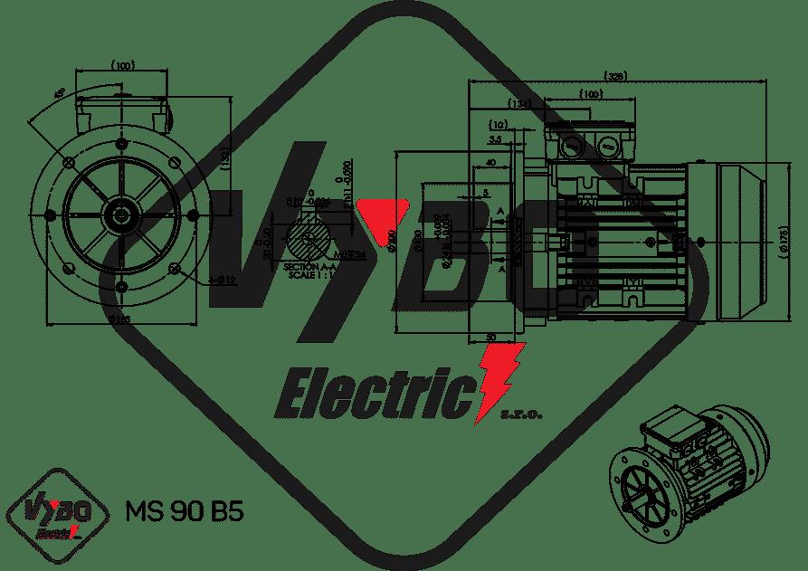 rozmerový výkres elektromotor 1.1kw MS90-4