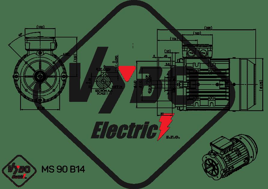 rozmerový výkres elektromotor 1,1 kw MS90-6