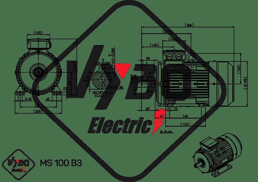 rozmerový výkres elektromotor 2,2kw MS100-4