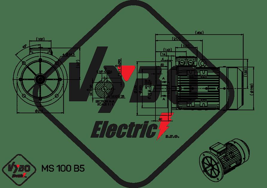 rozmerový výkres elektromotor 3kw MS100-4