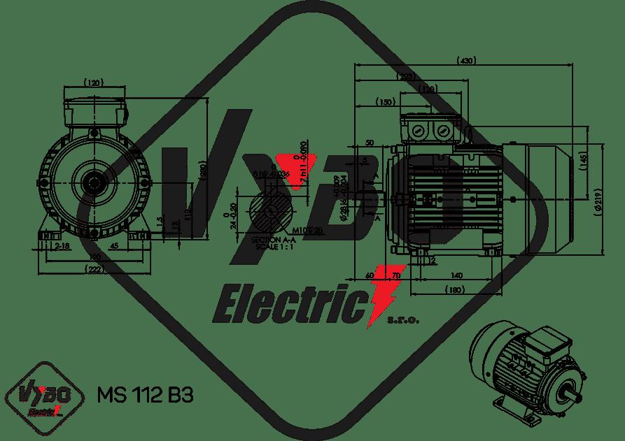 rozmerový výkres elektromotor 4kw MS112-2