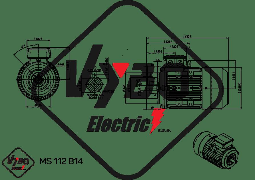 rozmerový výkres elektromotor 4kw MS112-4