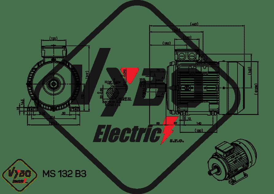 rozmerový výkres elektromotor 4 kw MS132-6