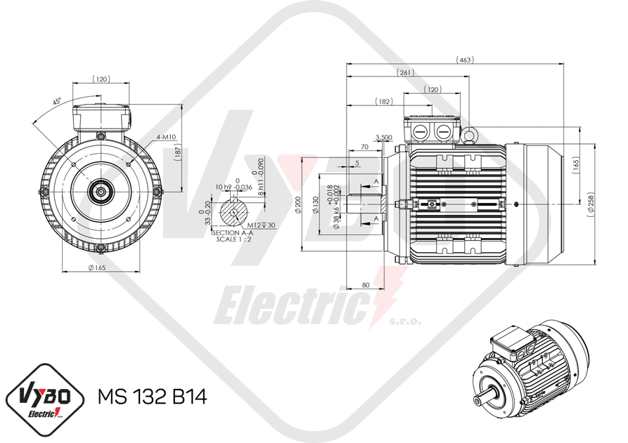 rozmerový výkres elektromotor 5,5kw MS132-4