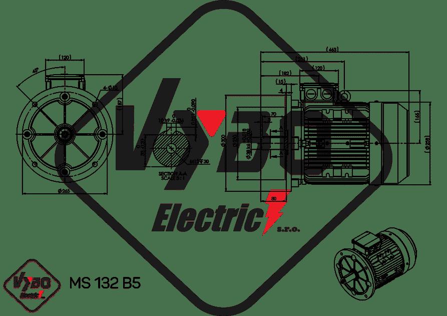 rozmerový výkres elektromotor 7,5kw MS132-4