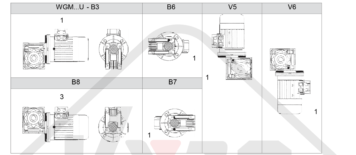 montážní poloha prevodovka wgm040