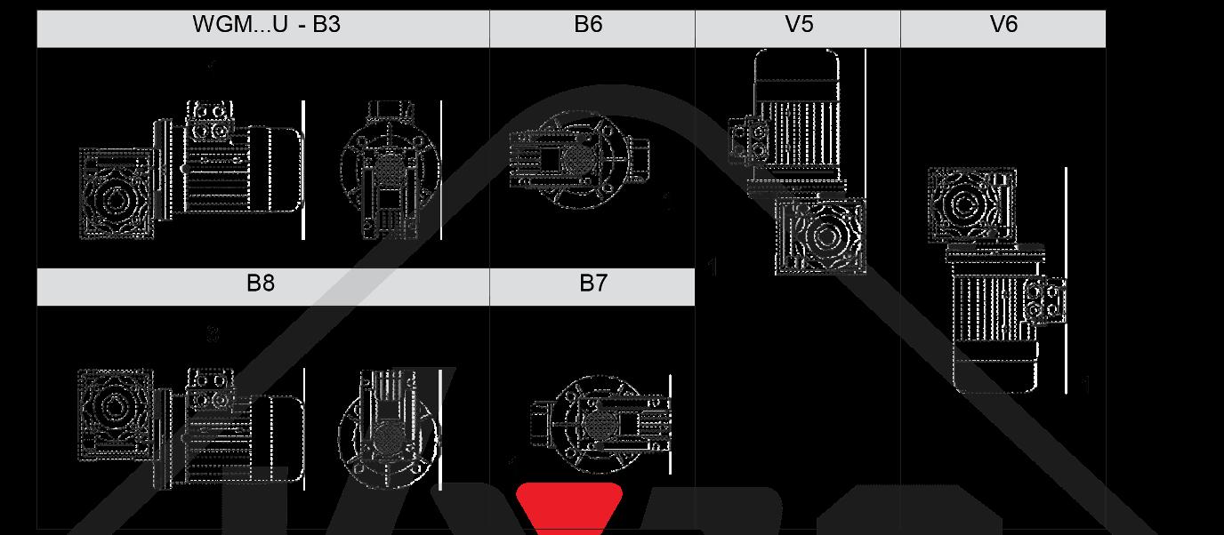 montážní poloha převodovka wgm050