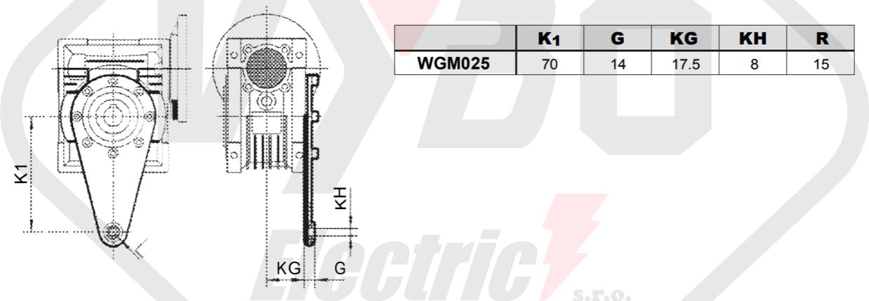Torzní rameno šnekové převodovky WGM025