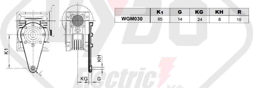 torzní rameno šnekové převodovky wgm030