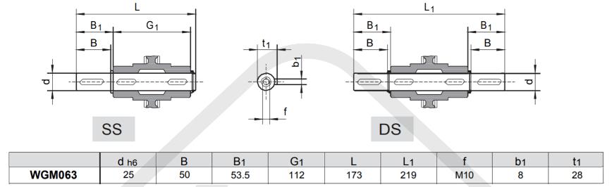 výstupní hřídele šneková převodovka wgm063