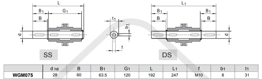 výstupní hřídele šneková převodovka wgm075