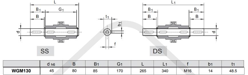výstupní hřídele převodovka wgm130