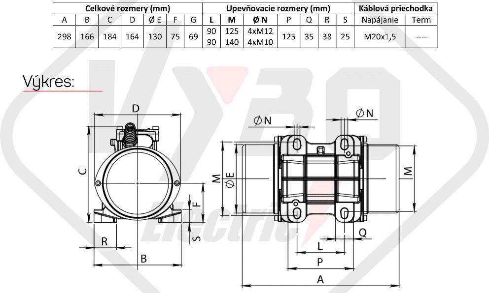 rozměry vibrační elektromotor BM200-15