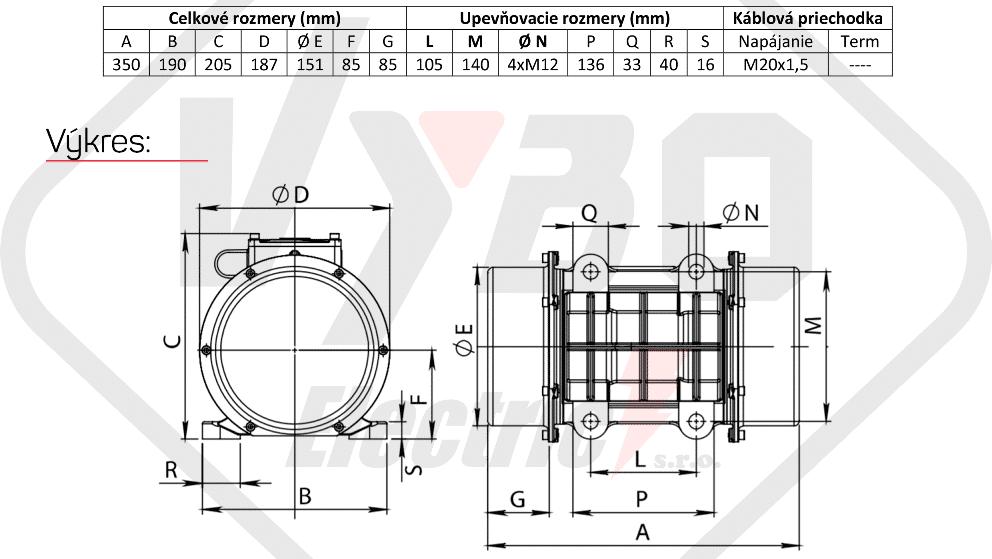 rozměry vibrační elektromotor BM400-15-V