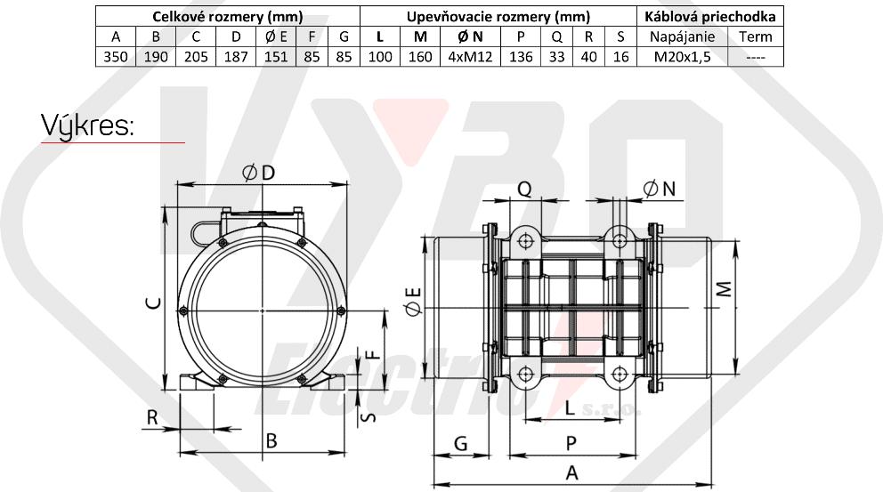 rozměry vibrační elektromotor BM400-15
