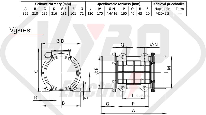 rozměry vibrační elektromotor BM750-15