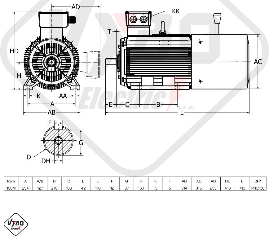 rozměrový výkres brzdový elektromotor 11kW 1LCBR160M1-2