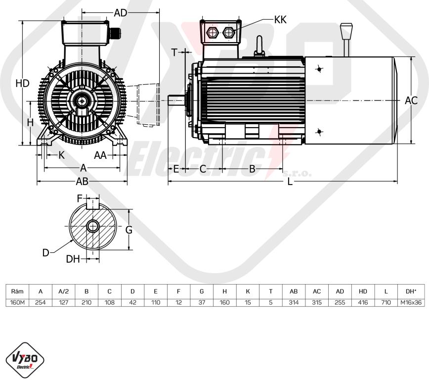 rozměrový výkres brzdový elektromotor 15kW 1LCBR160M2-2