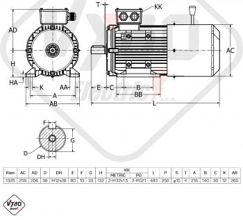 rozměrový výkres brzdový elektromotor 7.5kW 1ALBR132S2-2