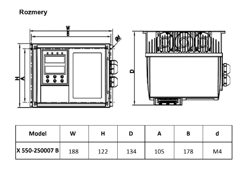 frekvenční měnič 0,75kw X550