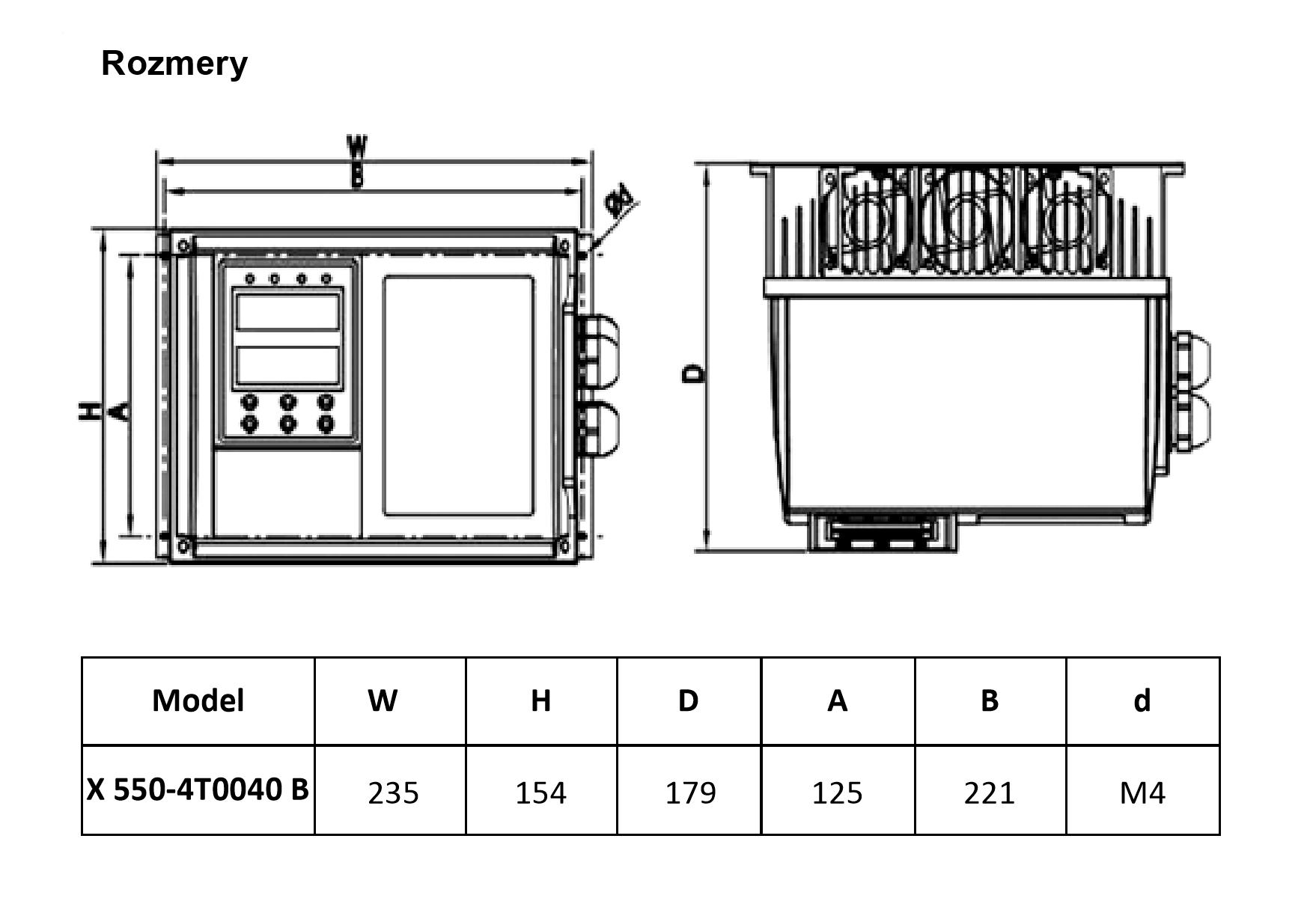 frekvenční měnič 4,0kw X550