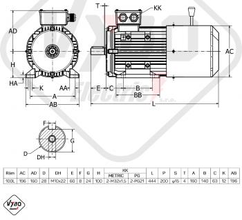 rozměrový výkres brzdový elektromotor 2,2kW 1ALBR100L1-4