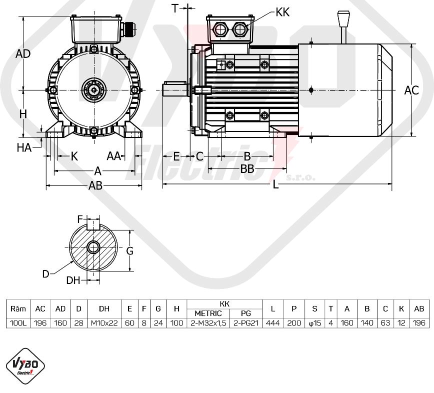 rozměrový výkres brzdový elektromotor 3kW 1ALBR100L2-4