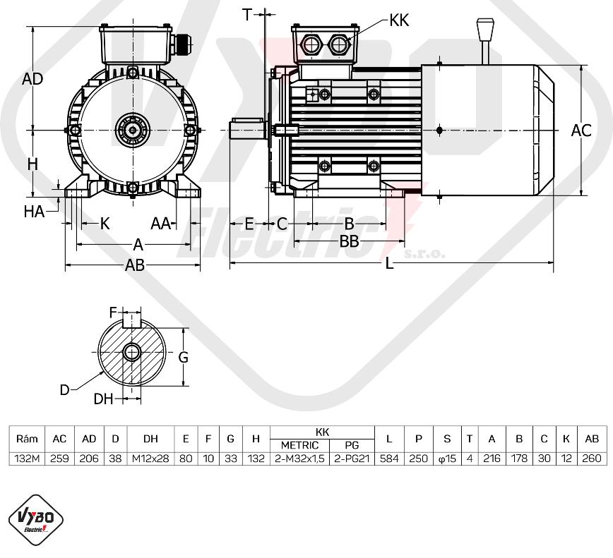 rozměrový výkres brzdový elektromotor 7,5kW 1ALBR132M-4