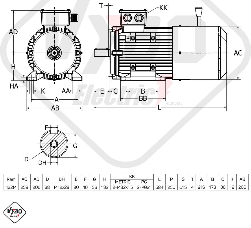 rozměrový výkres brzdový elektromotor 3,0kW 1ALBR132M-8