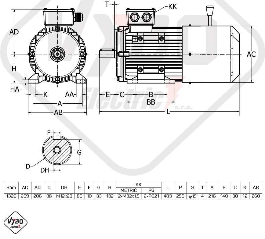 rozměrový výkres brzdový elektromotor 2,2kW 1ALBR132S-8