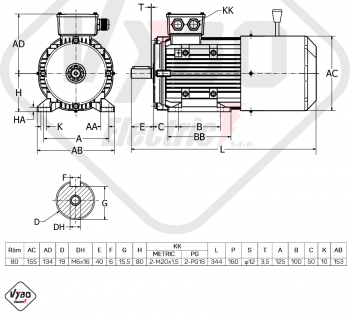 rozměrový výkres brzdový elektromotor 0,75kW 1ALBR802-4