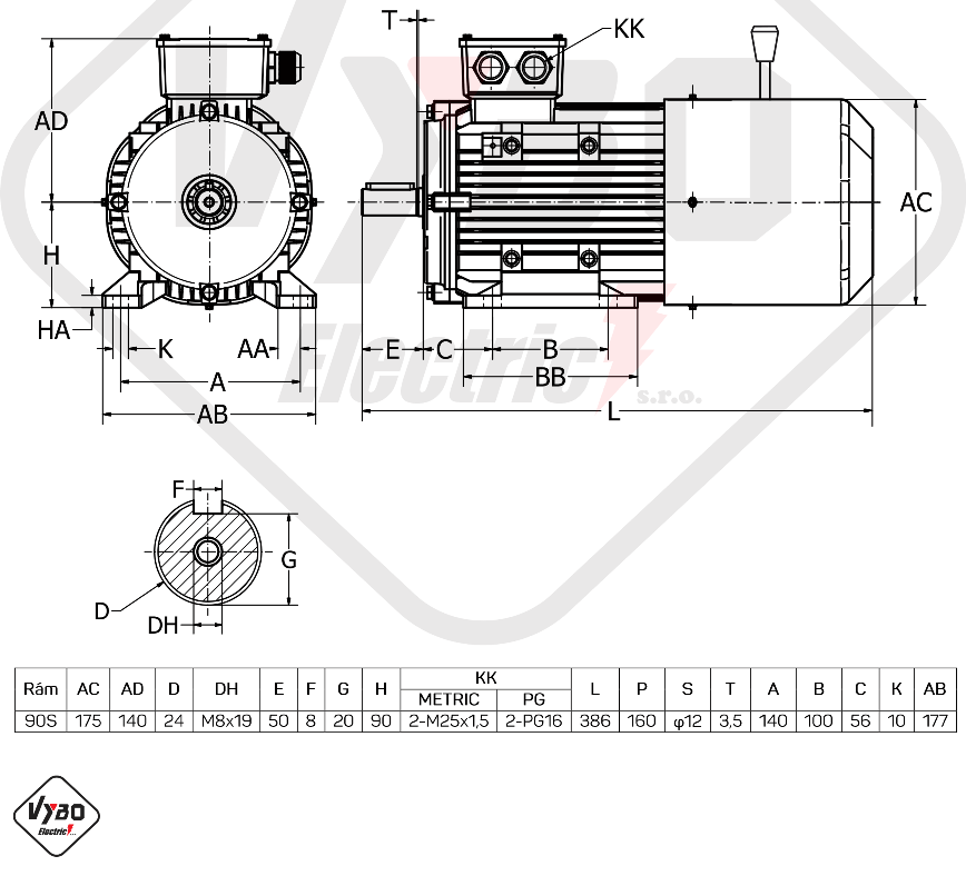 rozměrový výkres brzdový elektromotor 1,1kW 1ALBR90S-4