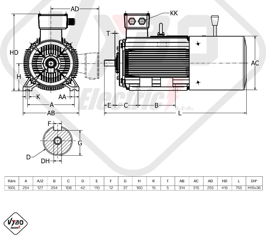 rozměrový výkres brzdový elektromotor 15kW 1LCBR160L-4