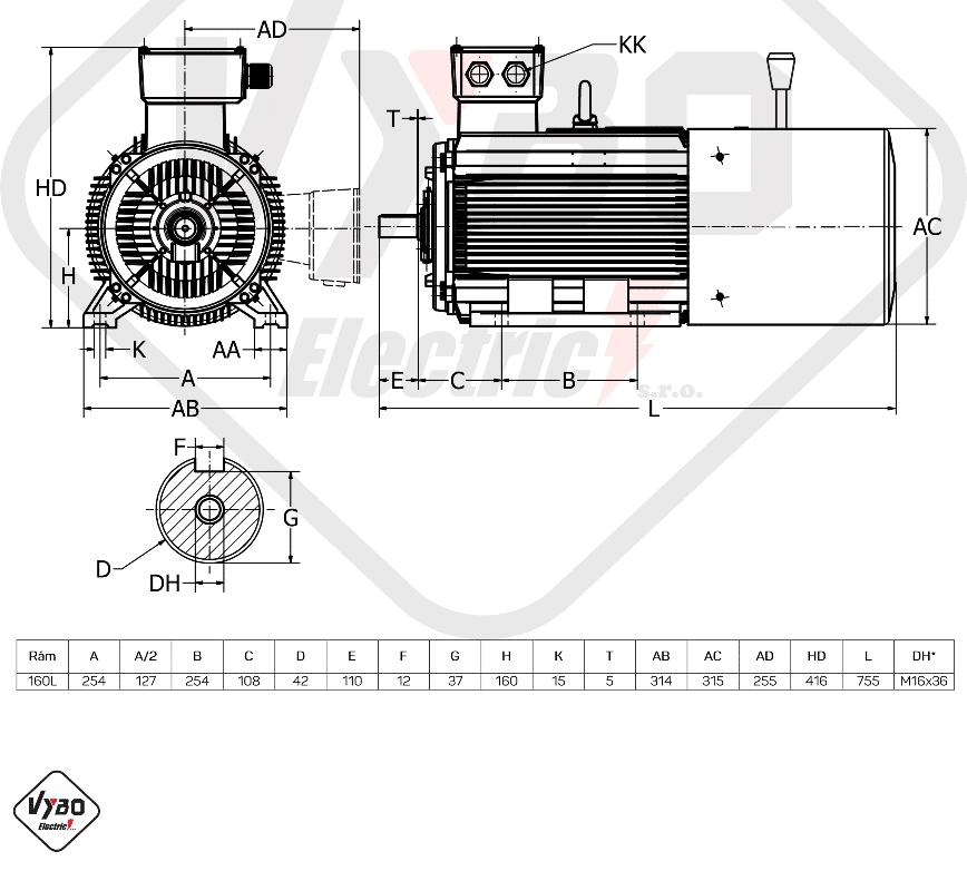 rozměrový výkres brzdový elektromotor 7,5kW 1ALBR160L-8