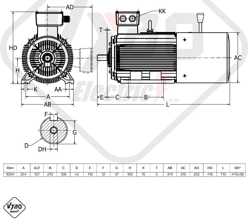 rozměrový výkres brzdový elektromotor 4,0kW 1ALBR160M1-8