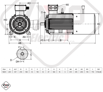rozměrový výkres brzdový elektromotor 5,5kW 1ALBR160M2-8