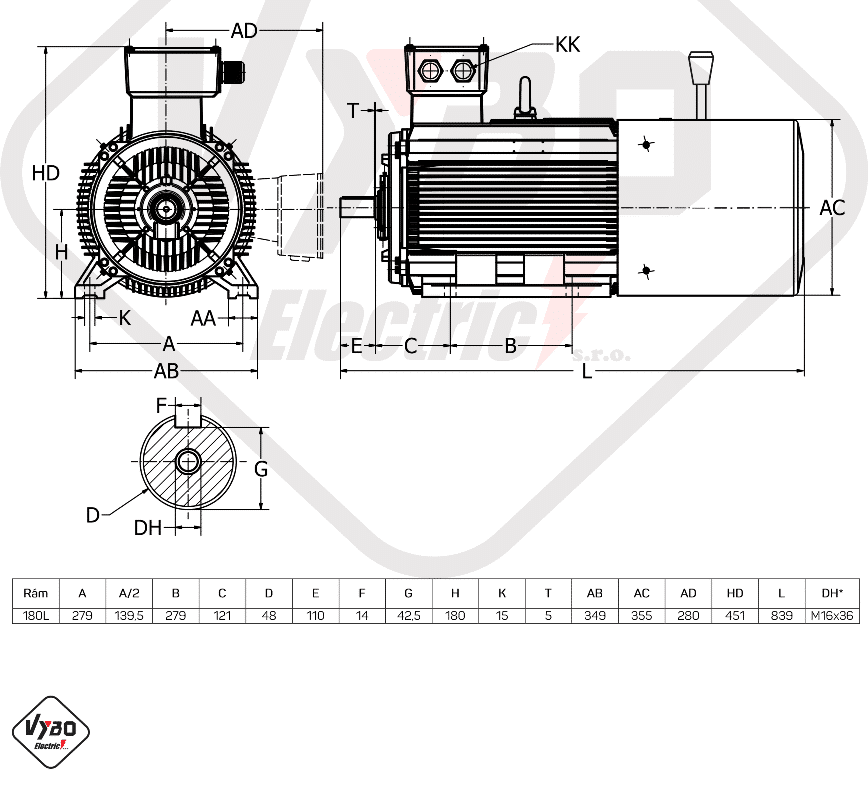 rozměrový výkres brzdový elektromotor 11kW 1ALBR180L-8