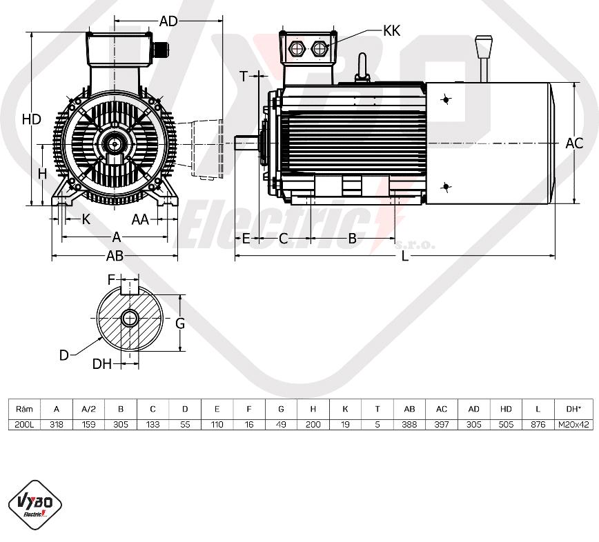 rozměrový výkres brzdový elektromotor 15kW 1ALBR200L-8