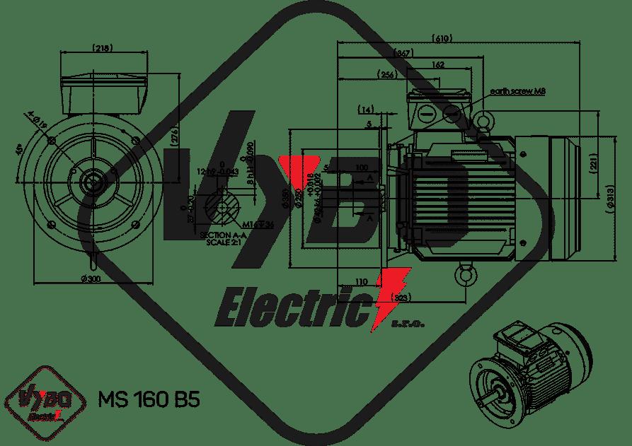 rozmerový výkres elektromotor 11 kw MS160-6
