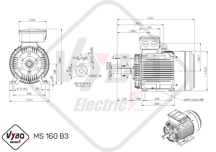 rozmerový výkres elektromotor 15kw MS160-4