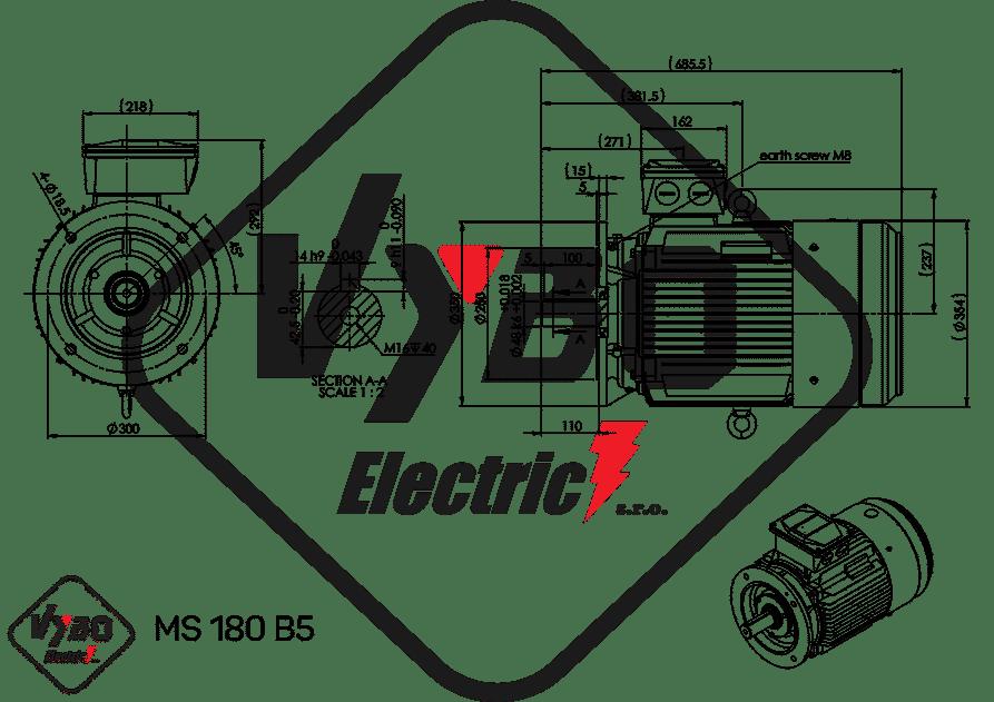 rozmerový výkres elektromotor 15 kw MS180-6