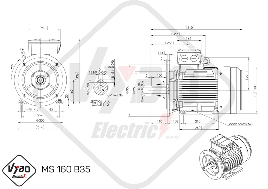 rozmerový výkres elektromotor 18,5kw MS160-2