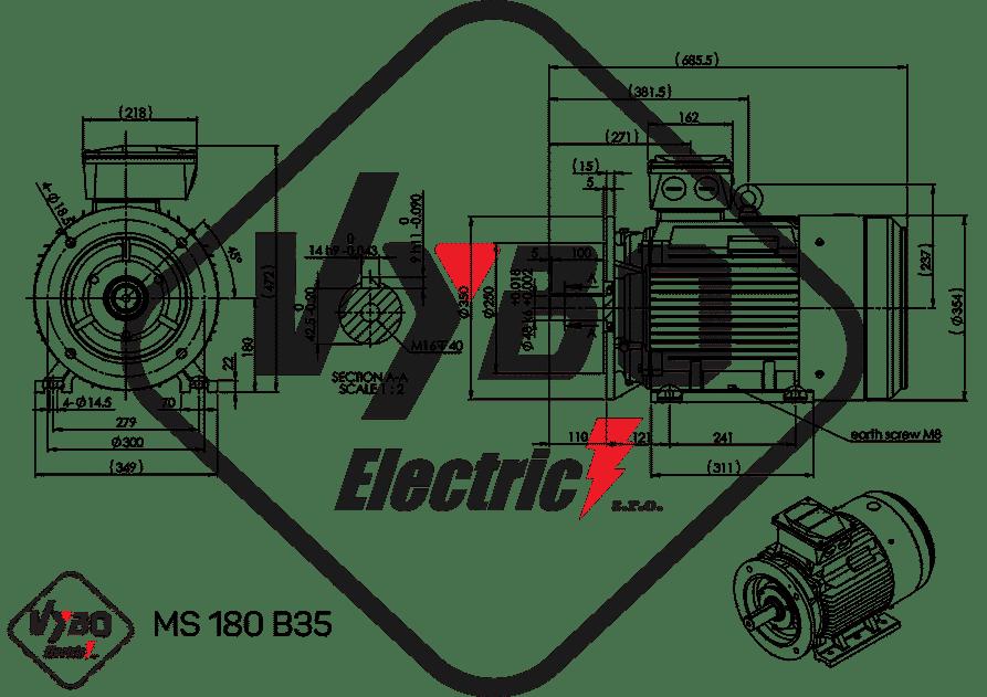 rozmerový výkres elektromotor 18,5kw MS180-4