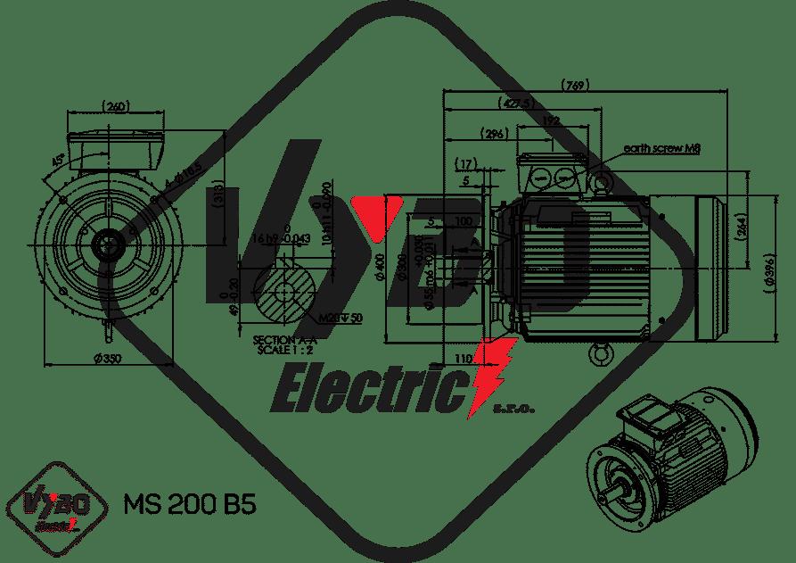 rozmerový výkres elektromotor 18,5 kw MS200-6