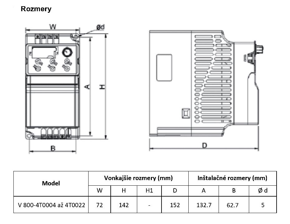 frekvenční měnič 1,5kw V800