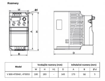 rozměrový výkres frekvenční měnič 4T0040 - 4T0055