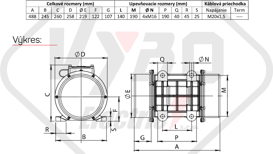 rozměry vibrační elektromotor BM2000-15
