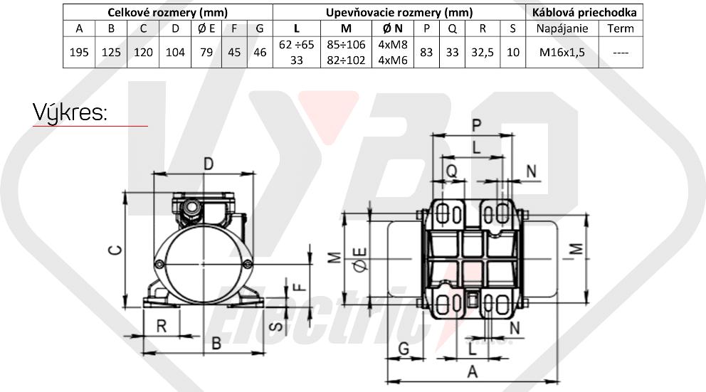 rozměry vibrační elektromotor BM25-15