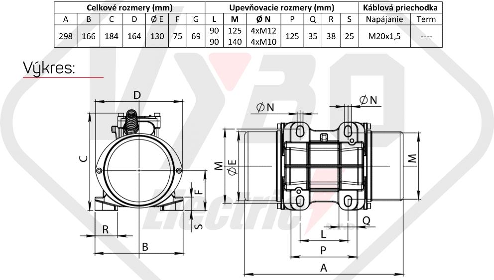 rozměry vibrační elektromotor BM250-15